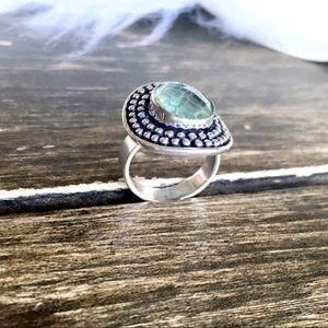 Apatite Green Gemstone Ring Size 7